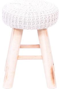 Puff Glamour Crochãª- Branco & Madeira- 40Xã˜28Cm-Or Design