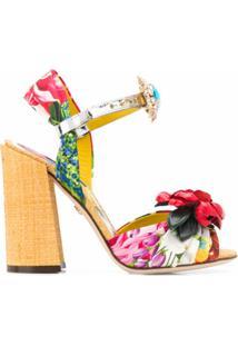 Dolce & Gabbana Sandália De Seda Com Bordado - Vermelho