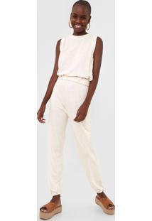 Macacão Dress To Jogger Liso Off-White
