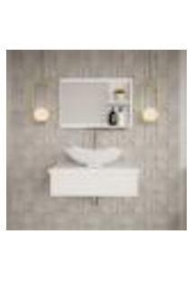 Conjunto Para Banheiro Bancada Com Cuba L42 Abaulada E Espelheira City 601 Branco Chess