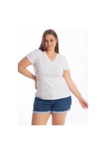 Blusa Básica Plus Size Lisa Decote V Feminina Branco