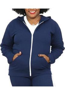 Jaqueta Sangos Moletom Plus Size Flanelada Feminina - Unissex-Azul