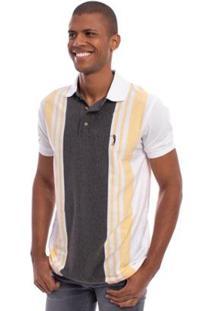 Camisa Polo Aleatory Listrada Freedom Masculina - Masculino-Cinza Claro