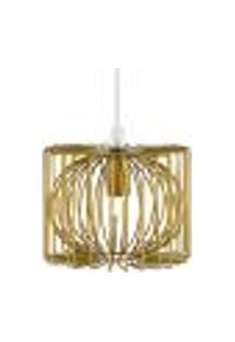 Luminária Lustre Pendente 14X12X14Cm Dourado Metal