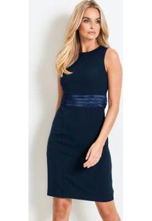 Vestido De Alfaiataria Tubinho Azul
