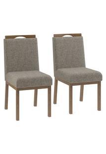 Conjunto 2 Cadeiras Estofadas Sofia Volttoni Poliéster 343 Nogueira