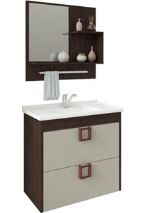 Gabinete Suspenso Para Banheiro Lírio Com Espelho 59X35,5Cm Café E Off-White
