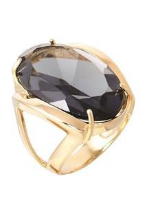 Anel Pedra Cristal Zircônia Fumê Translúcido Lapidado Banhado A Ouro 18K