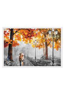 Quadro Love Decor Com Moldura Outono Chuvoso Branco Grande
