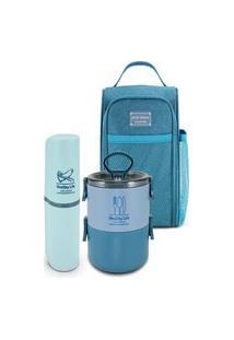 Conjunto De Bolsa Termica Com Pote Marmita E Porta Escova Jacki Design Azul