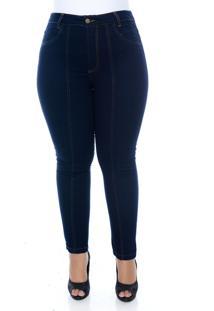 Calã§A Cambos Jeans Plus Size Skinny Cropped Com Nervura Azul - Azul - Feminino - Dafiti