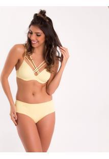 Calcinha Cintura Alta Blush Eg - Feminino-Amarelo