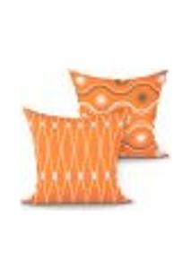 Capa Almofada Decorativa Laranja Estampada Geométrica Kit Com 2 Unidades 45Cm X 45Cm Com Zíper