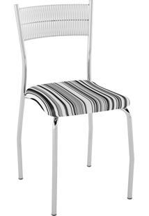Kit C/ 2 Cadeiras Encosto Branco Assento Listrado Preto Pozza