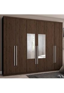 Guarda-Roupa De Casal 6 Portas Com Espelho Amaro- Henn - Café
