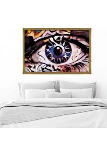 Quadro Love Decor Com Moldura Olhos Azuis Abstrato Dourado - Grande