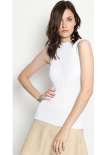 Blusa Tricã´ Gola Alta- Branca- Ponto Aguiarponto Aguiar