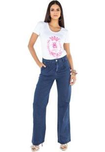 Calça Jeans Latifundio Pantalona Feminina - Feminino-Azul