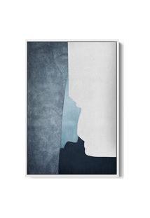 Quadro 150X100Cm Abstrato Textura Ireki Moldura Flutuante Filete Branca