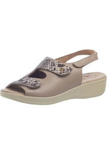 Sandália Anabela Joanete Doctor Shoes 7995 Bege/Cobra