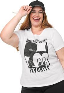 Blusa Cativa Disney Plus Paetês Branca