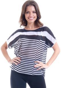 Blusa 101 Resort Wear Tunica Estampada Cetim Listrado - Branco/Preto - Feminino - Dafiti