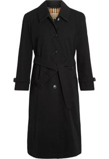 Burberry Side-Slit Tropical Gabardine Trench Coat - Preto