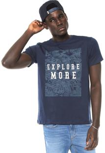 Camiseta Fiveblu Manga Curta Estampada Azul-Marinho