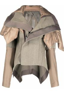 Rick Owens Panelled Oversized Collar Jacket - Marrom