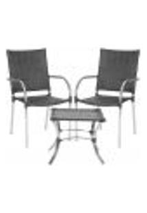 Jogo Cadeiras 2Un E Mesa De Centro Polonia Para Edicula Jardim Area Varanda Descanso - Preto