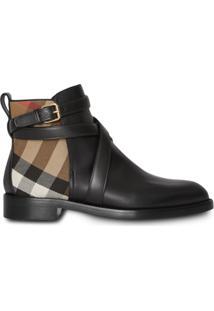 Burberry Ankle Boot De Couro Com Detalhe Xadrez - Preto