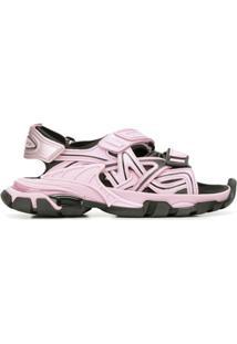 Balenciaga Sandália Track Com Velcro - Rosa