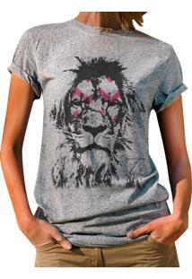Blusa Outlet Dri T-Shirt Estampada Leão Cinza