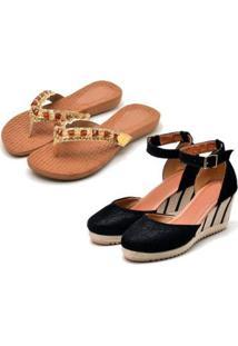 Kit Sandália Anabela + Chinelo Ousy Shoes Feminino - Feminino-Preto+Caramelo