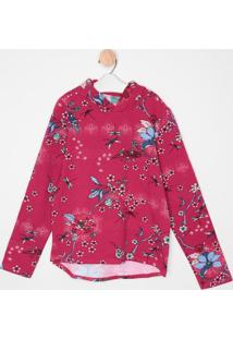 Blusão Em Moletom Floral- Rosa Escuro & Azul- Malweemalwee