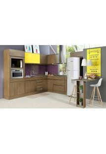 Cozinha Modulada Completa 8 Módulos Com Balcão Ilha E Painel Decorativo Adorei Castanho/Citrino - Decibal