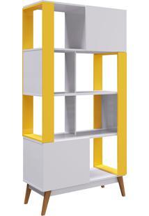 Estante Com 3 Prateleiras Milão- Genialflex - Branco / Amarelo Camaro