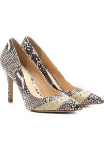 Scarpin Shoestock Salto Fino Cobra - Feminino-Cinza