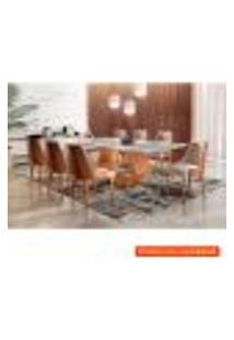 [Outlet] Conjunto De Mesa De Jantar Ane Com 8 Cadeiras Esmeralda Iv Linho Off White E Caramelo