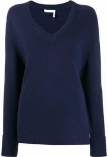 Chloé Suéter De Cashmere Com Decote Em V - Azul
