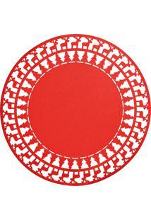 Jogo Americano Natalino Vermelho Redondo Com Renas 35X35Cm - Tricae