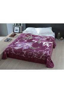 Cobertor Casal 1,80X2,20M Raschel Florentine - Corttex Vinho
