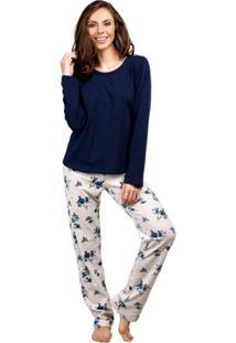 Pijama Inspirate Longo Jeans Feminino - Feminino-Azul
