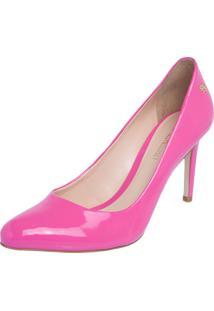 Scarpin Lillys Closet Bico Redondo Clássico Salto Alto Fino Rosa