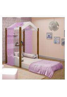Cama Montessoriana Casa Solteiro Com Voal Rosa Casah