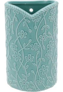 Vaso De Parede Floral- Verde- 16,5X10,5X3,5Cm- Uurban