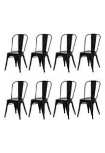 Kit 8 Cadeiras Tolix Iron Design Preta Aco Industrial Sala Cozinha Jantar Bar