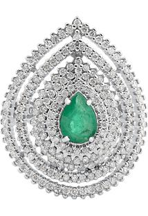 Anel Ouro Branco Diamantes E Esmeralda