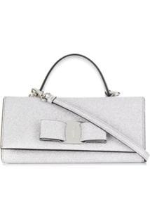 Salvatore Ferragamo Vara Bow Glitter Wallet Clutch - Prateado