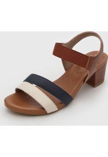 Sandália Usaflex Tiras Bege/Azul-Marinho